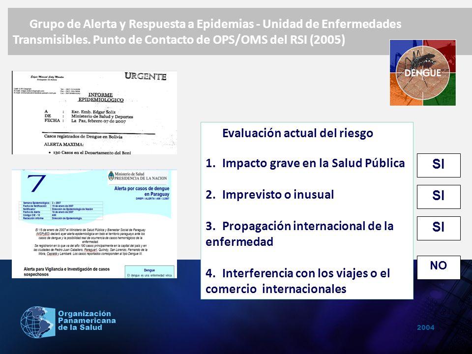 2004 Organización Panamericana de la Salud Evaluación actual del riesgo 1.Impacto grave en la Salud Pública 2.Imprevisto o inusual 3.Propagación inter
