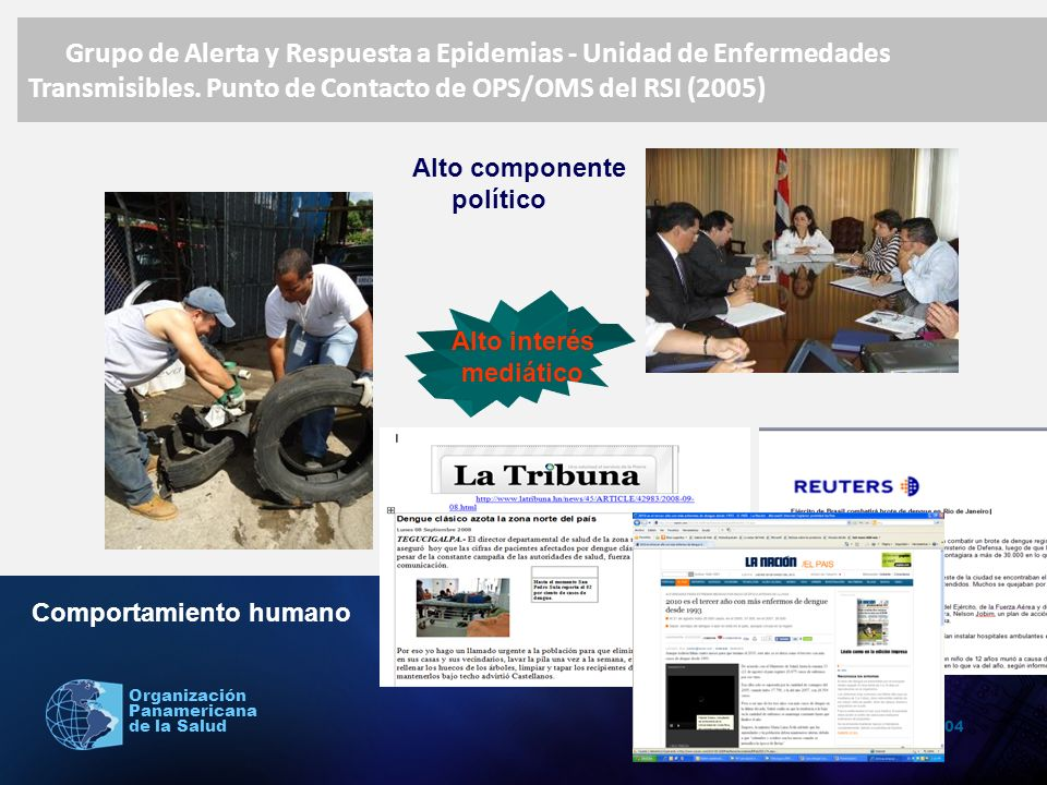 2004 Organización Panamericana de la Salud Fuentes consultadas: 1.San Martín José Luis.