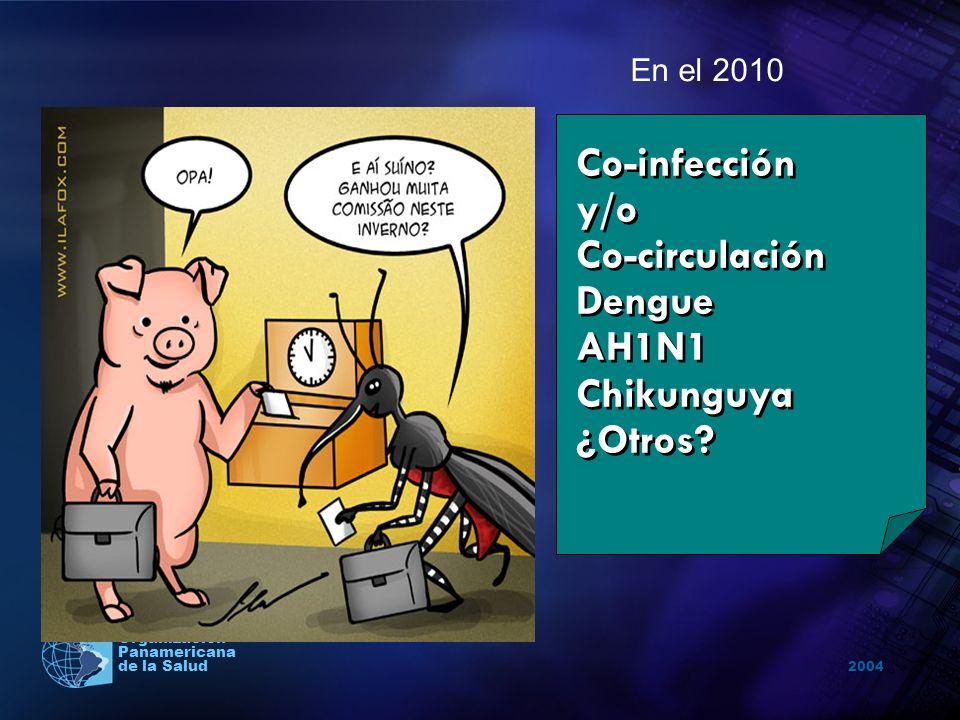 2004 Organización Panamericana de la Salud Co-infección y/o Co-circulación Dengue AH1N1 Chikunguya ¿Otros? En el 2010