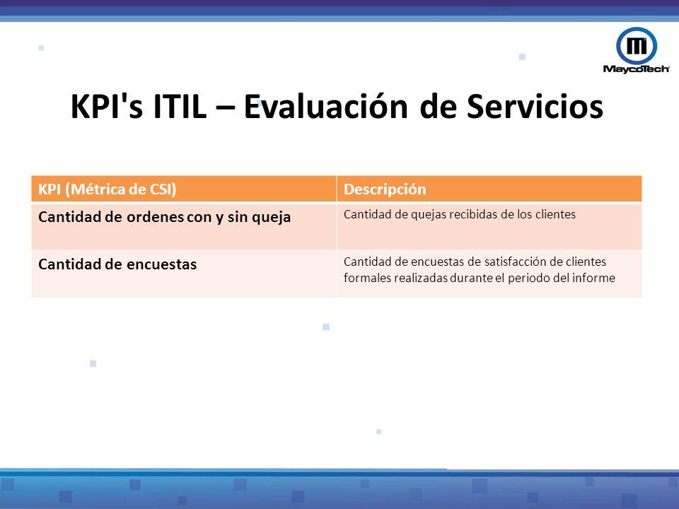 KPI's ITIL – Evaluación de Servicios KPI (Métrica de CSI)Descripción Cantidad de ordenes con y sin queja Cantidad de quejas recibidas de los clientes