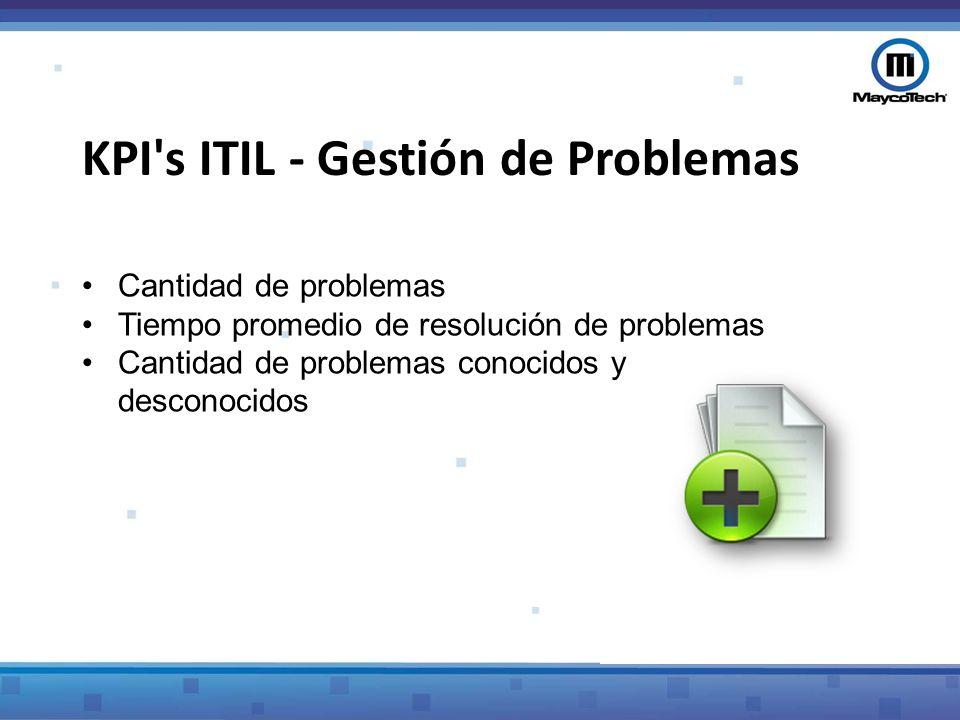 KPI (Métrica de CSI)Descripción Cantidad de problemas Cantidad de problemas registrados por la Gestión de Problemas, agrupados por categorías Tiempo promedio de resolución de problemas Tiempo medio para resolver problemas, agrupados por categorías Cantidad de problemas conocidos y desconocidos Cantidad media de incidentes vinculados al mismo problema después de identificar el problema KPI s ITIL - Gestión de Problemas