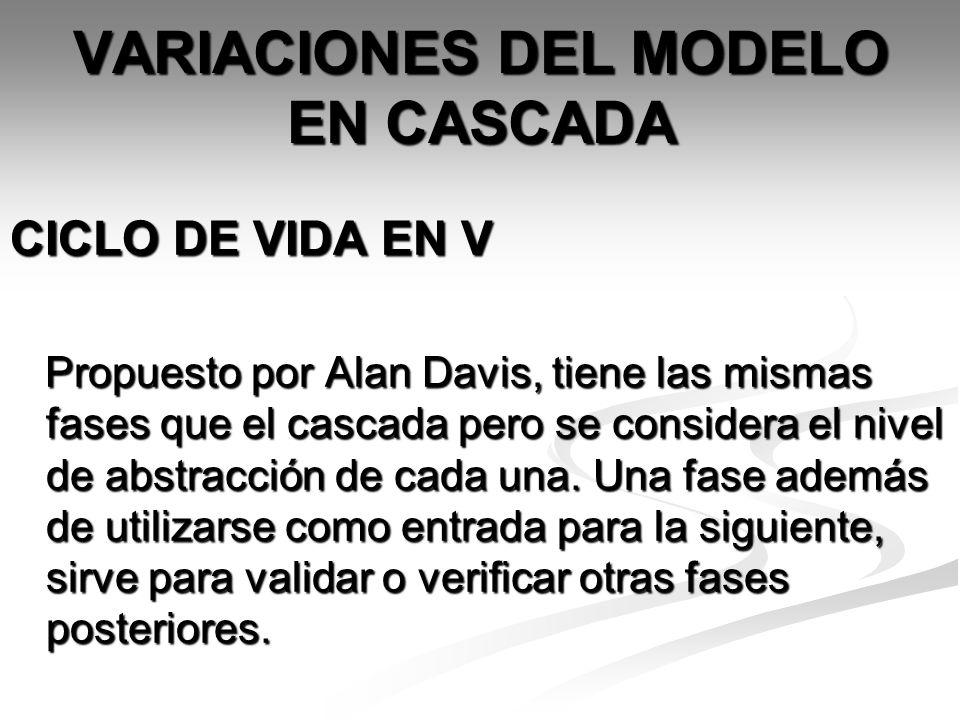 VARIACIONES DEL MODELO EN CASCADA CICLO DE VIDA EN V Propuesto por Alan Davis, tiene las mismas fases que el cascada pero se considera el nivel de abs