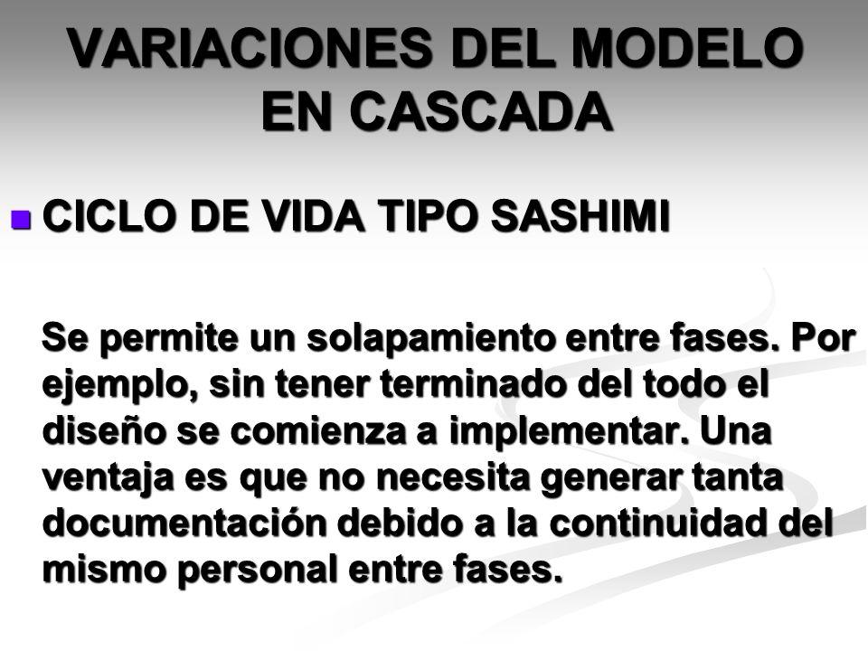 VARIACIONES DEL MODELO EN CASCADA CICLO DE VIDA TIPO SASHIMI CICLO DE VIDA TIPO SASHIMI Se permite un solapamiento entre fases. Por ejemplo, sin tener