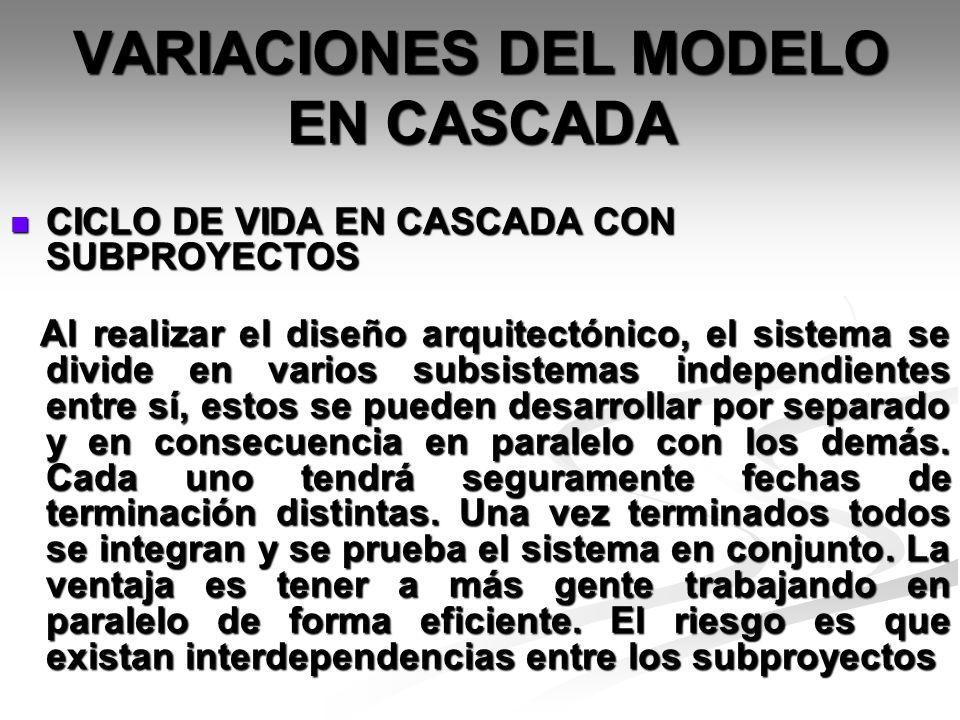 VARIACIONES DEL MODELO EN CASCADA CICLO DE VIDA EN CASCADA CON SUBPROYECTOS CICLO DE VIDA EN CASCADA CON SUBPROYECTOS Al realizar el diseño arquitectó