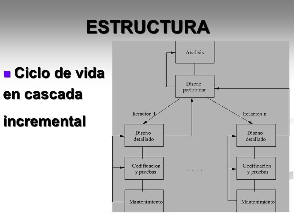 ESTRUCTURA Ciclo de vida Ciclo de vida en cascada incremental