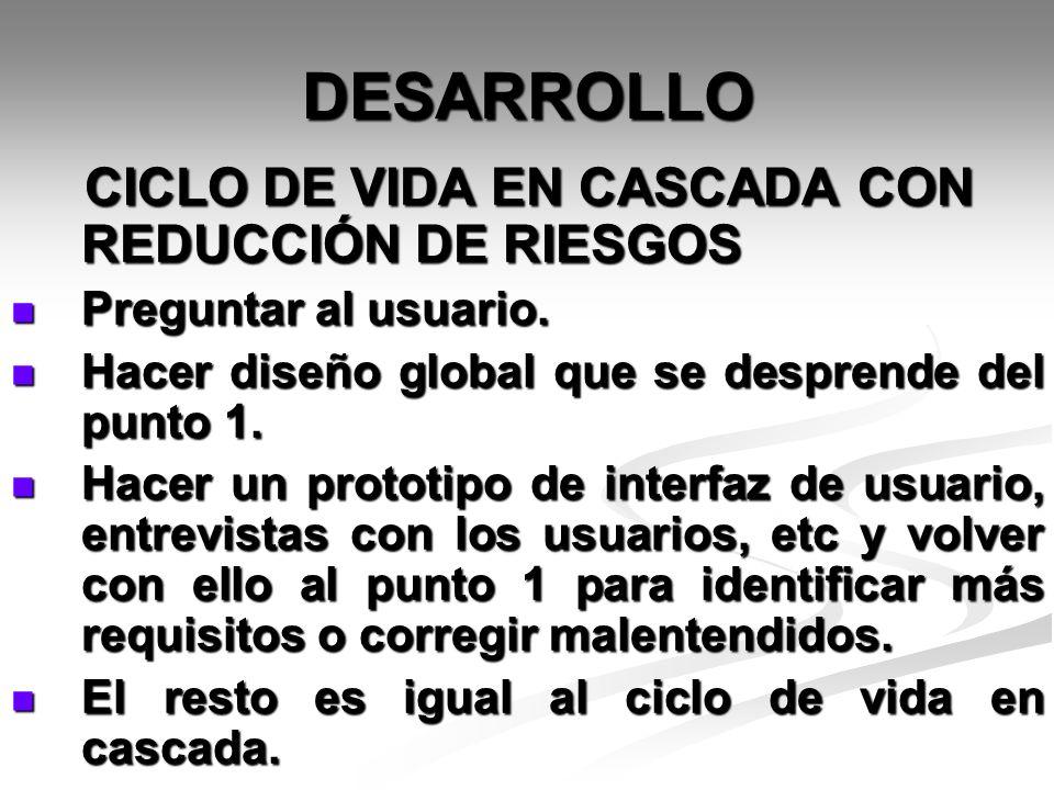 DESARROLLO CICLO DE VIDA EN CASCADA CON REDUCCIÓN DE RIESGOS CICLO DE VIDA EN CASCADA CON REDUCCIÓN DE RIESGOS Preguntar al usuario. Preguntar al usua