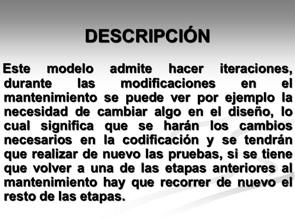DESCRIPCIÓN Este modelo admite hacer iteraciones, durante las modificaciones en el mantenimiento se puede ver por ejemplo la necesidad de cambiar algo