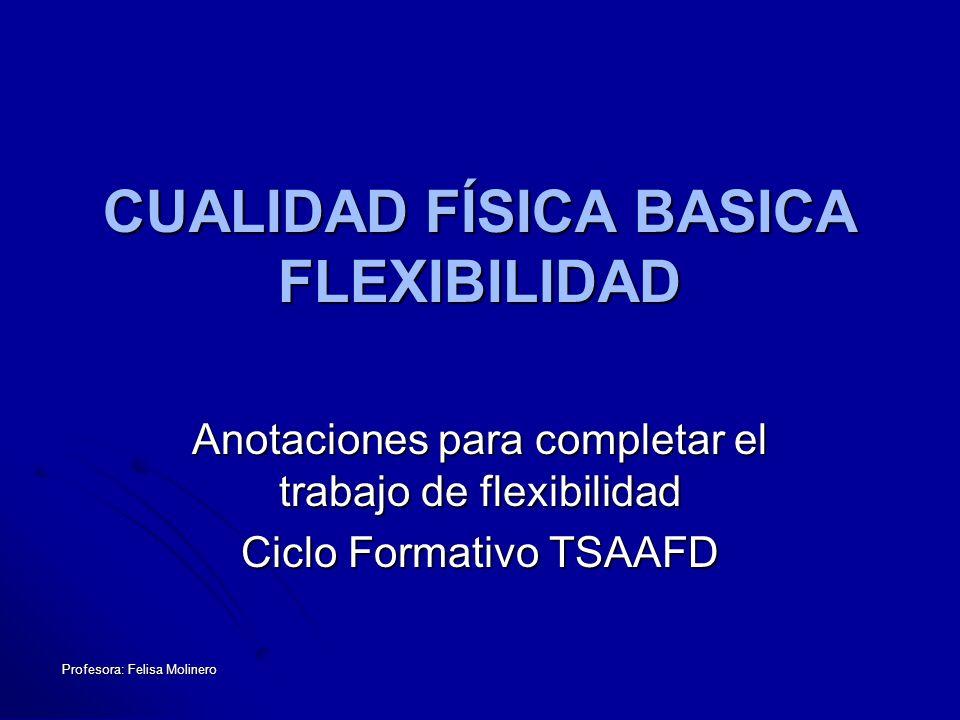 Profesora: Felisa Molinero Concepto Concepto Tipos Tipos Importancia de la flexibilidad Importancia de la flexibilidad Desventajas Desventajas Factores que la condicionan Factores que la condicionan La neurofisiología de la flexibilidad La neurofisiología de la flexibilidad Métodos y medios para un entrenamiento adecuado Métodos y medios para un entrenamiento adecuado Objetivos Objetivos Métodos: Activos / Pasivos / FNP Métodos: Activos / Pasivos / FNP Bases para el desarrollo de la Flexibilidad Bases para el desarrollo de la Flexibilidad