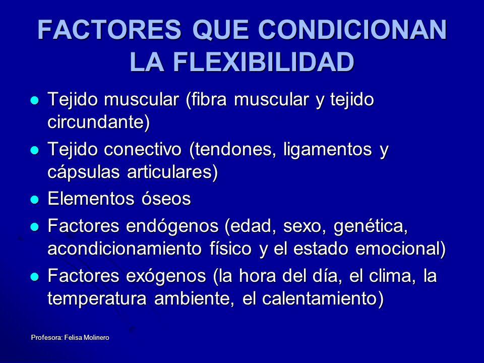 Profesora: Felisa Molinero FACTORES QUE CONDICIONAN LA FLEXIBILIDAD Tejido muscular (fibra muscular y tejido circundante) Tejido muscular (fibra muscu