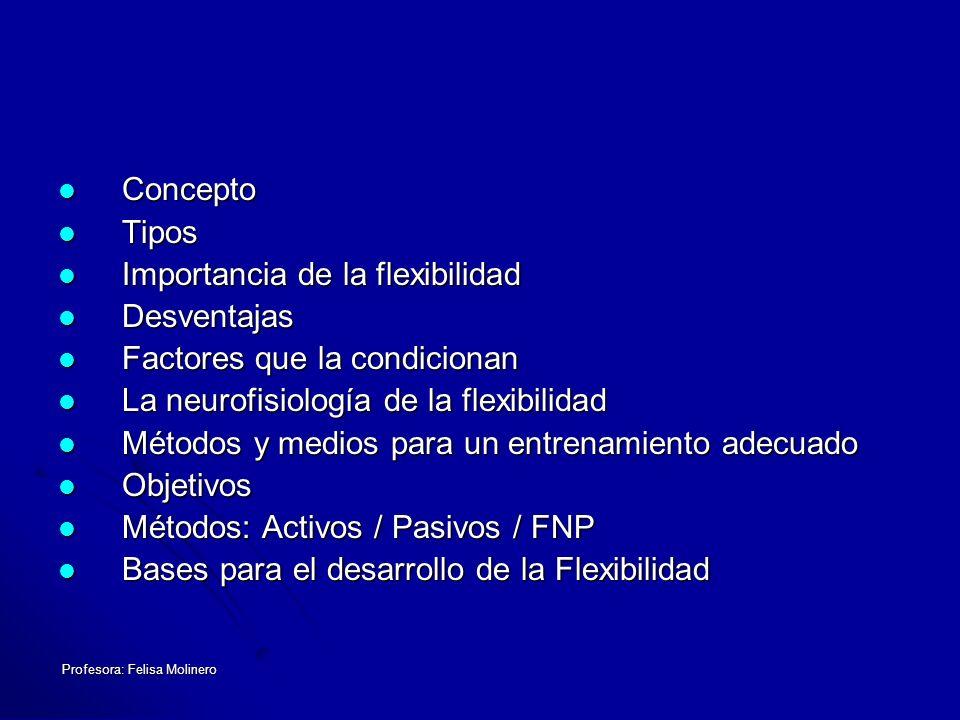 Profesora: Felisa Molinero El objetivo del entrenamiento de la flexibilidad Aumentar la amplitud del movimiento.