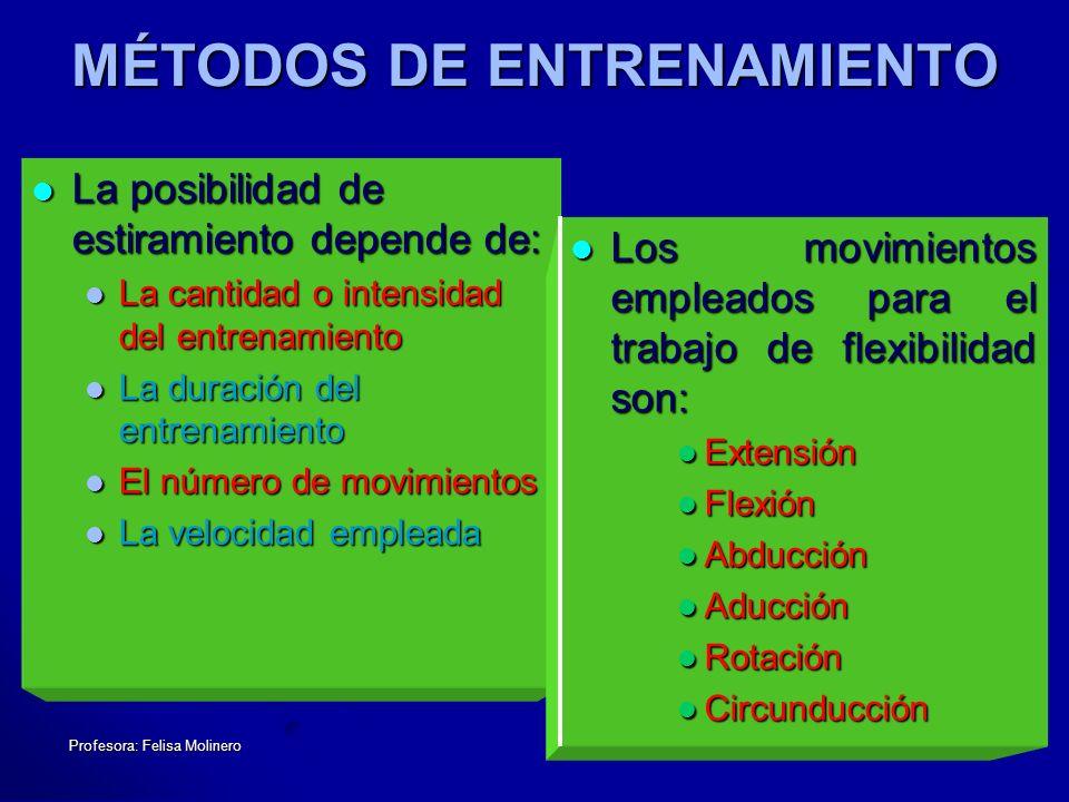 Profesora: Felisa Molinero MÉTODOS DE ENTRENAMIENTO La posibilidad de estiramiento depende de: La posibilidad de estiramiento depende de: La cantidad