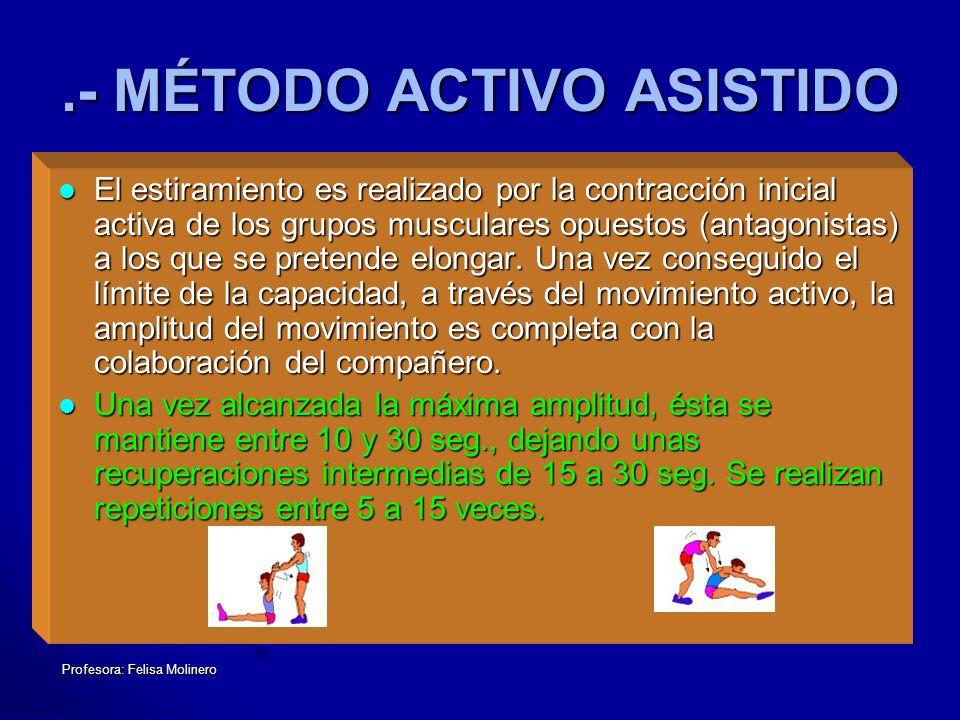 Profesora: Felisa Molinero.- MÉTODO ACTIVO ASISTIDO El estiramiento es realizado por la contracción inicial activa de los grupos musculares opuestos (