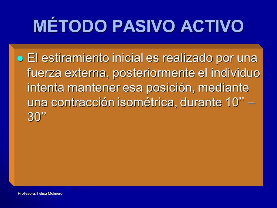 Profesora: Felisa Molinero MÉTODO PASIVO ACTIVO El estiramiento inicial es realizado por una fuerza externa, posteriormente el individuo intenta mante