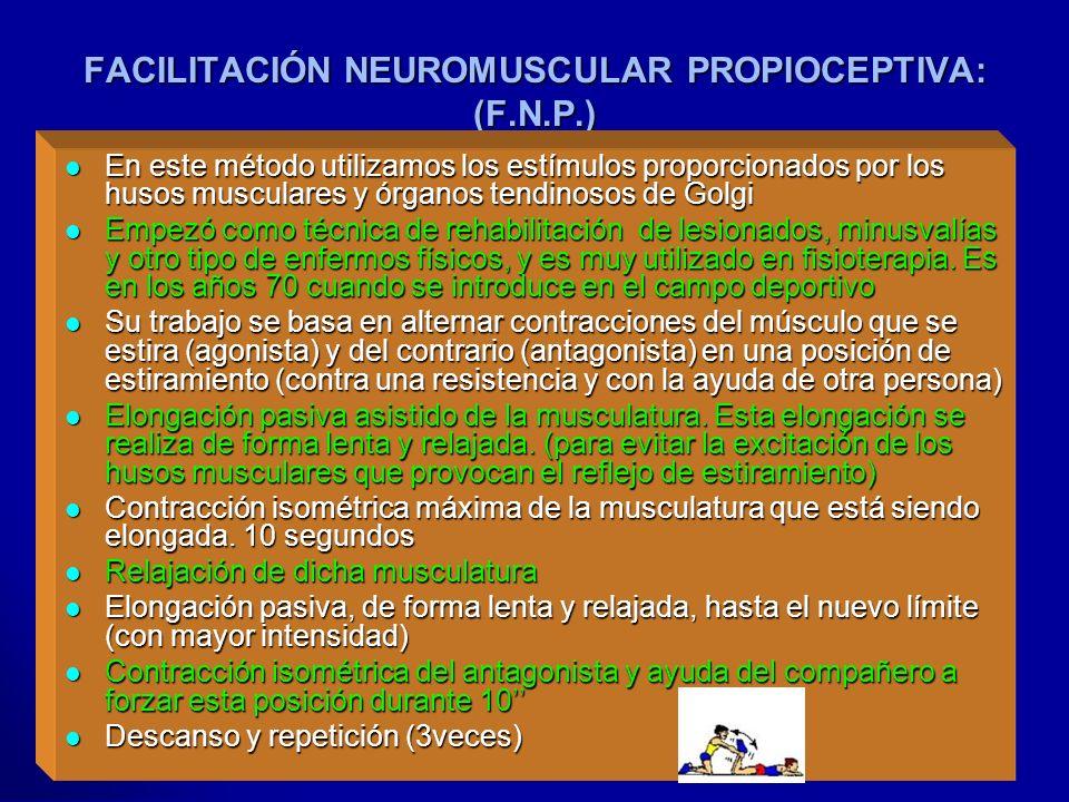 Profesora: Felisa Molinero FACILITACIÓN NEUROMUSCULAR PROPIOCEPTIVA: (F.N.P.) En este método utilizamos los estímulos proporcionados por los husos mus