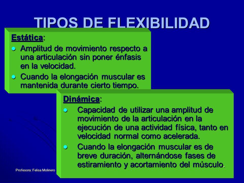 Profesora: Felisa Molinero TIPOS DE FLEXIBILIDAD Estática: Amplitud de movimiento respecto a una articulación sin poner énfasis en la velocidad. Ampli