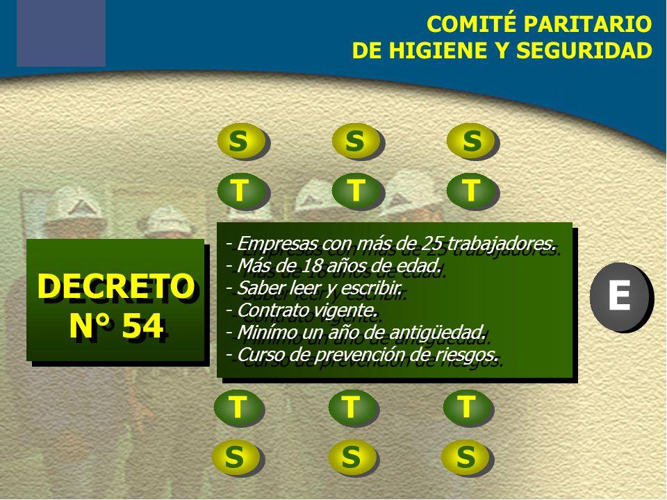 COMITÉ PARITARIO DE HIGIENE Y SEGURIDAD DECRETO N° 54 DECRETO N° 54 - Empresas con más de 25 trabajadores.