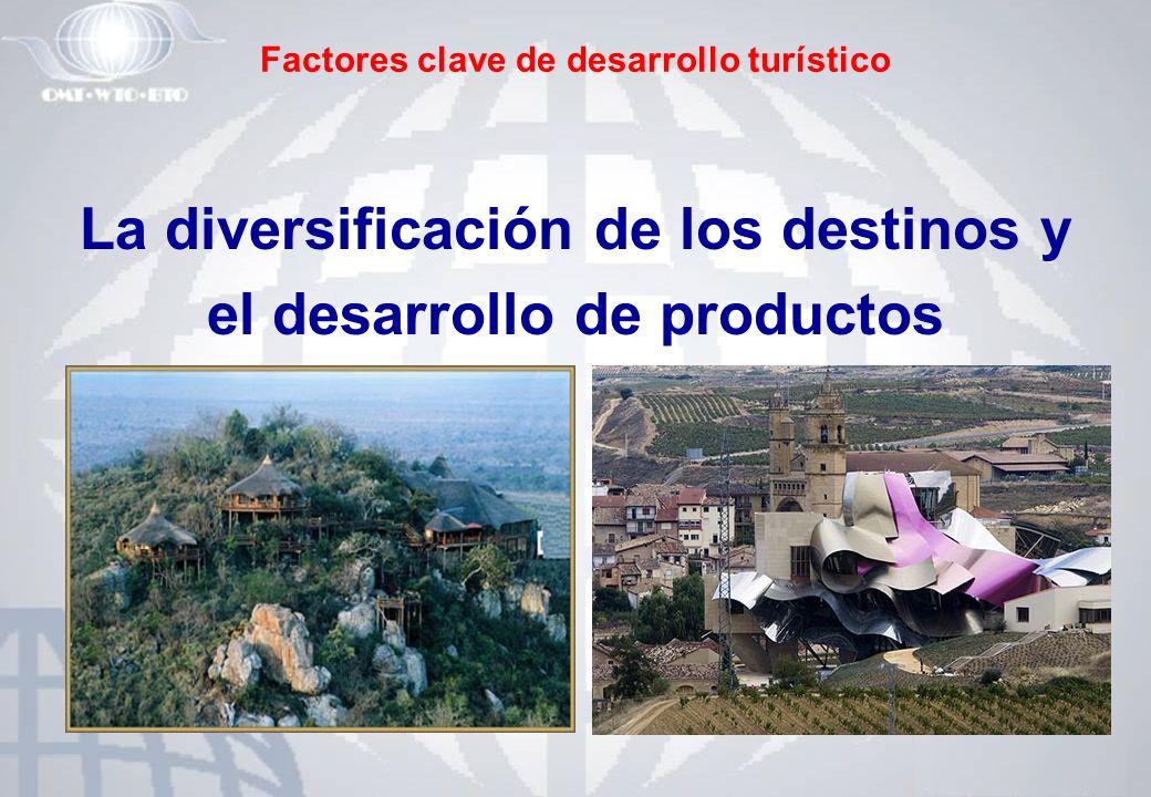 Factores clave de desarrollo turístico La diversificación de los destinos y el desarrollo de productos