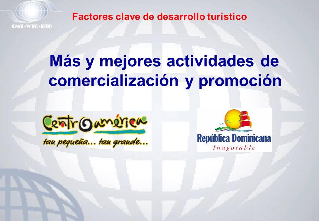 Factores clave de desarrollo turístico Más y mejores actividades de comercialización y promoción