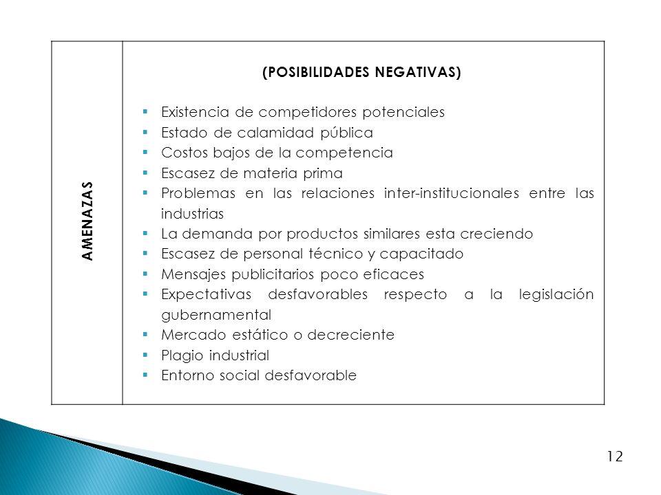 12 AMENAZAS (POSIBILIDADES NEGATIVAS) Existencia de competidores potenciales Estado de calamidad pública Costos bajos de la competencia Escasez de mat