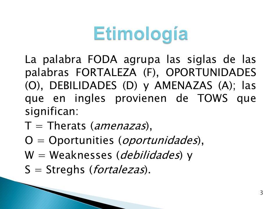 La palabra FODA agrupa las siglas de las palabras FORTALEZA (F), OPORTUNIDADES (O), DEBILIDADES (D) y AMENAZAS (A); las que en ingles provienen de TOW