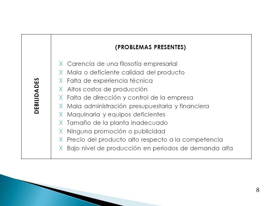 8 DEBILIDADES (PROBLEMAS PRESENTES) XCarencia de una filosofía empresarial XMala o deficiente calidad del producto XFalta de experiencia técnica XAlto