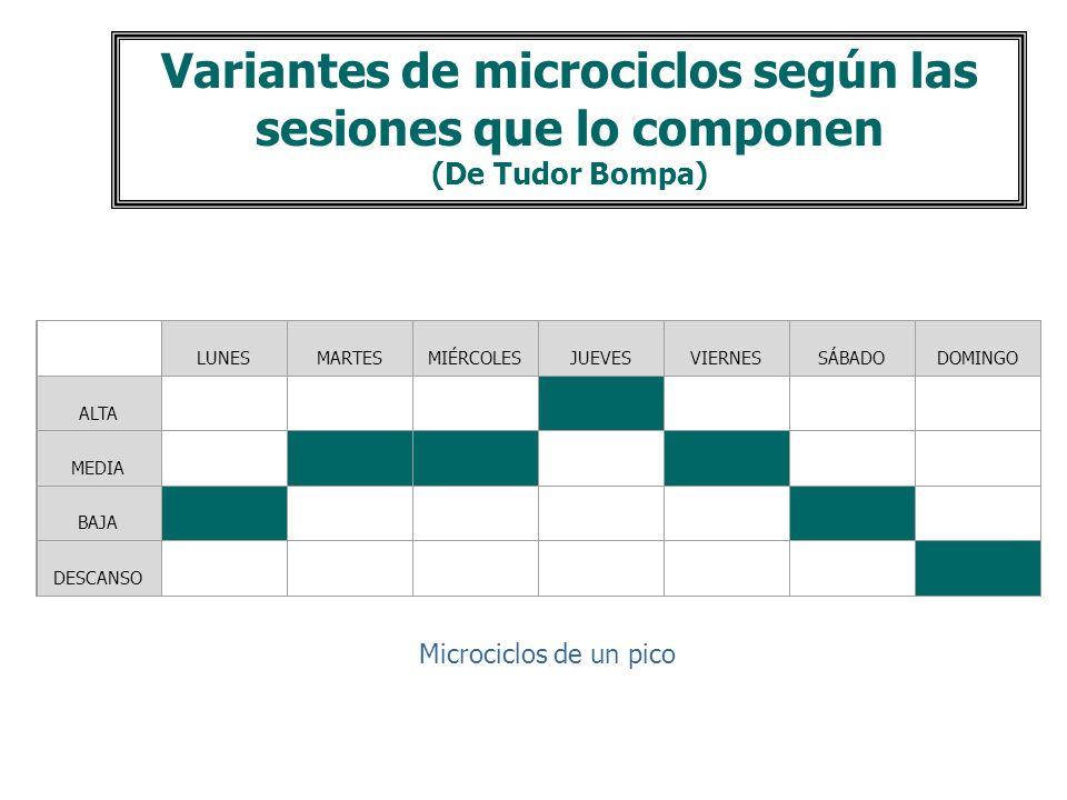 Microciclo M. Complementarios Microciclos de Base Competición Incluye el día de competición y los días anteriores. Su finalidad es: Asegurar el mejor