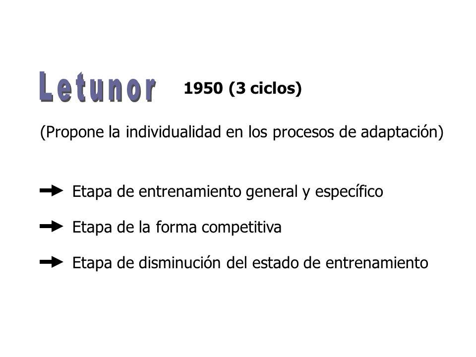 1950 (3 ciclos) Etapa de entrenamiento general y específico Etapa de disminución del estado de entrenamiento Etapa de la forma competitiva (Propone la individualidad en los procesos de adaptación)