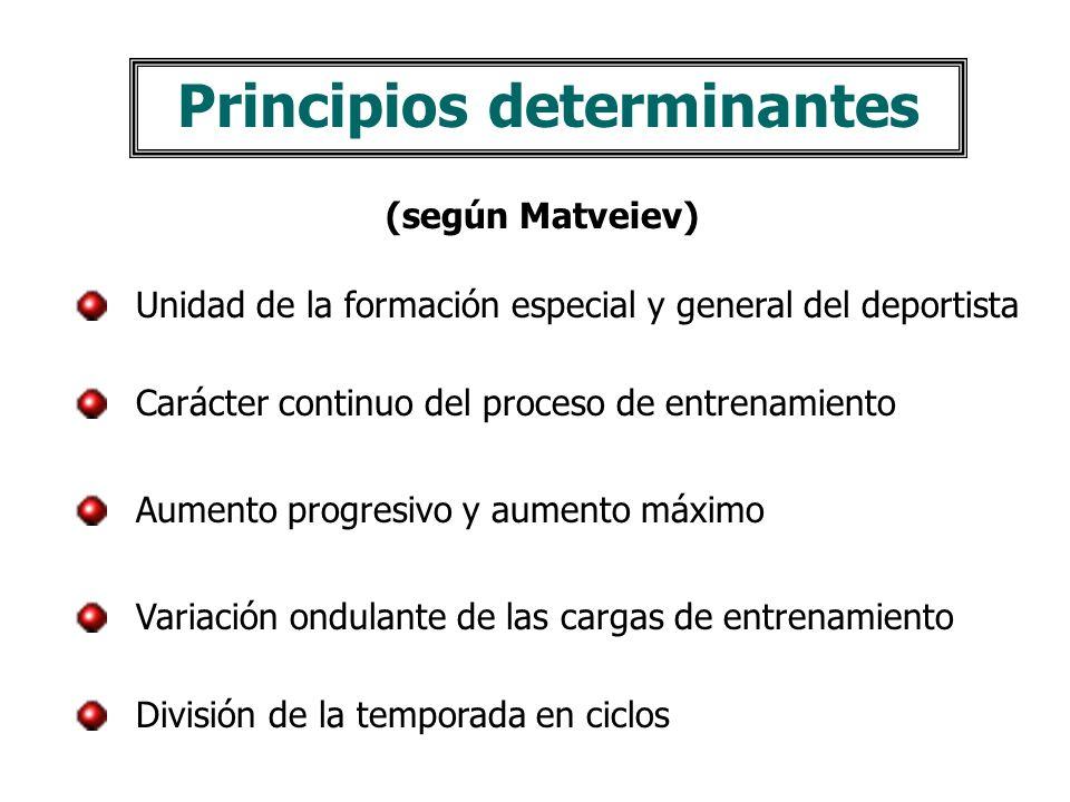 Principios determinantes (según Matveiev) Unidad de la formación especial y general del deportista Carácter continuo del proceso de entrenamiento Aumento progresivo y aumento máximo Variación ondulante de las cargas de entrenamiento División de la temporada en ciclos