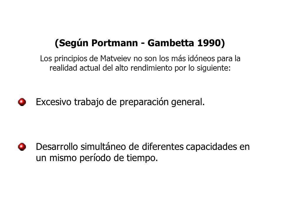 (Según Portmann - Gambetta 1990) Los principios de Matveiev no son los más idóneos para la realidad actual del alto rendimiento por lo siguiente: Excesivo trabajo de preparación general.