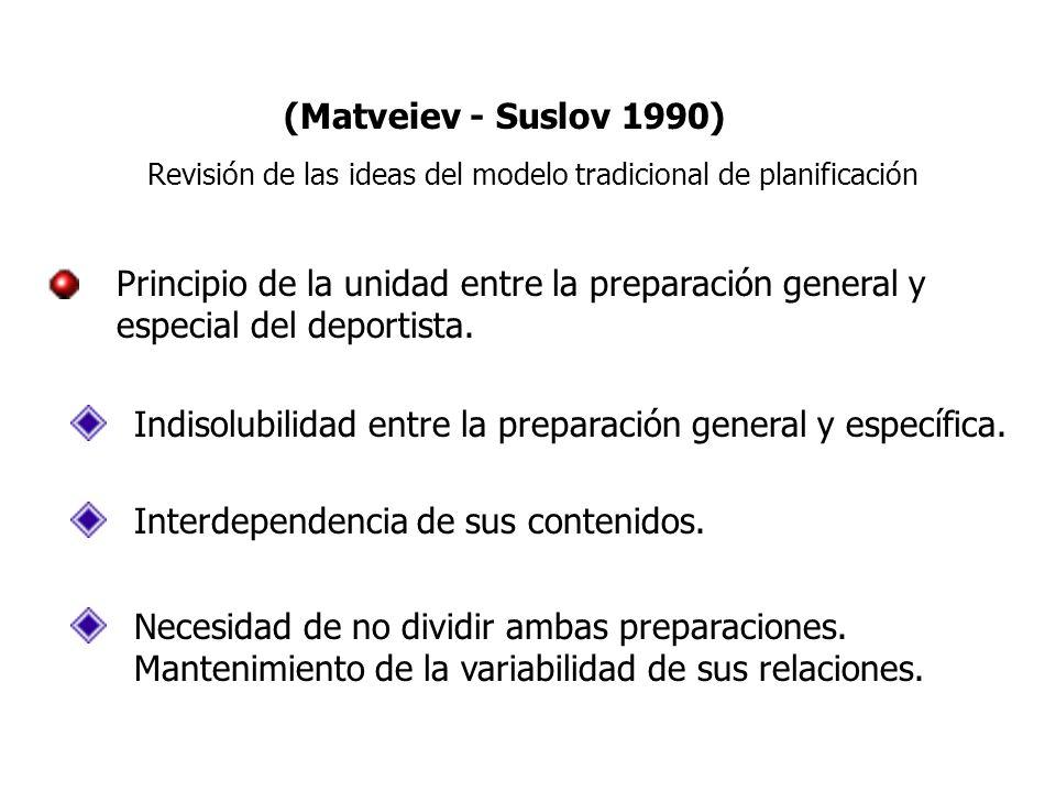 (Matveiev - Suslov 1990) Revisión de las ideas del modelo tradicional de planificación Principio de la unidad entre la preparación general y especial del deportista.