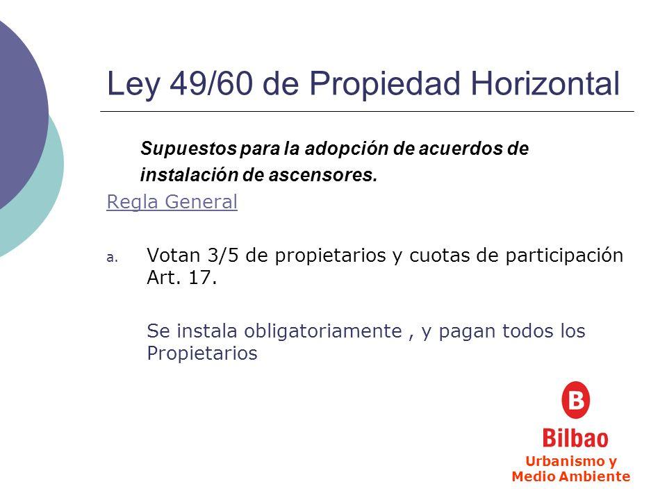Ley 49/60 de Propiedad Horizontal Supuestos para la adopción de acuerdos de instalación de ascensores. Regla General a. Votan 3/5 de propietarios y cu