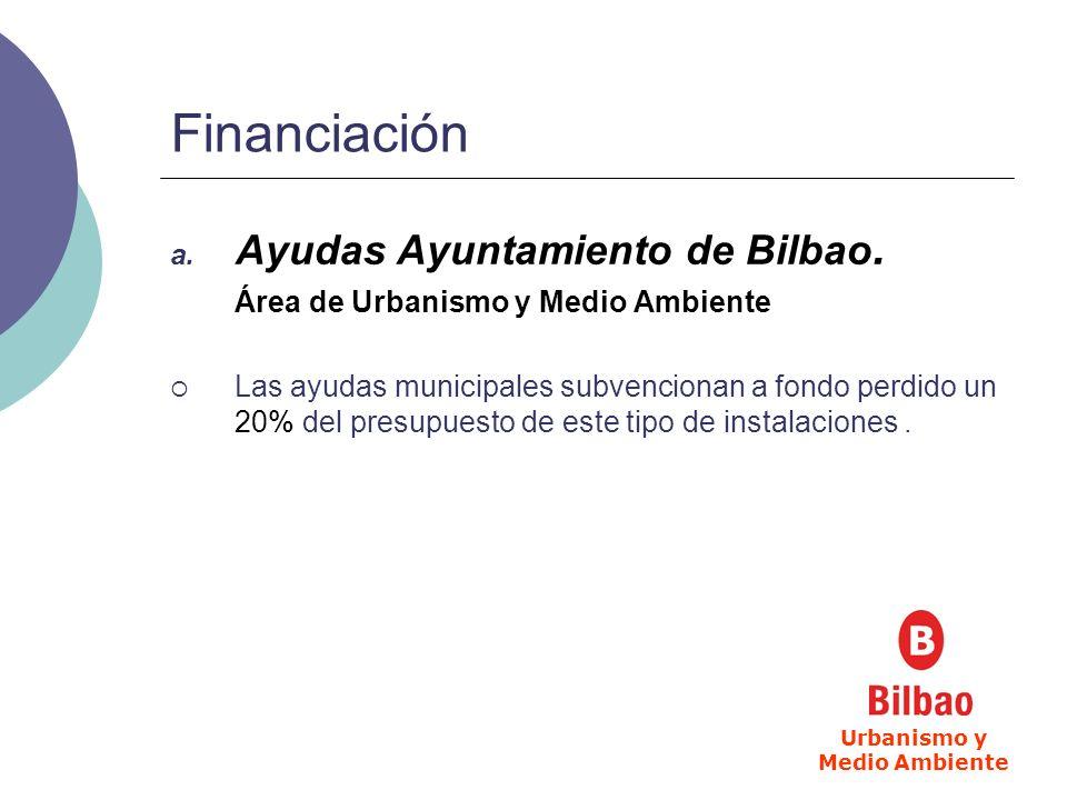 Financiación a. Ayudas Ayuntamiento de Bilbao. Área de Urbanismo y Medio Ambiente Las ayudas municipales subvencionan a fondo perdido un 20% del presu