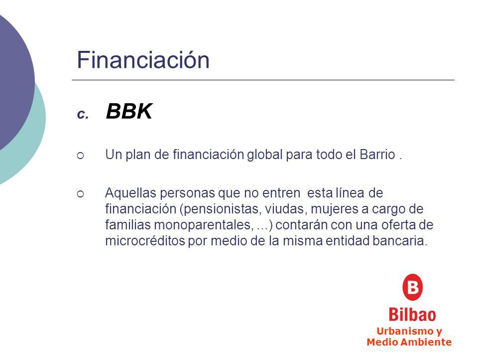 Financiación c. BBK Un plan de financiación global para todo el Barrio. Aquellas personas que no entren esta línea de financiación (pensionistas, viud