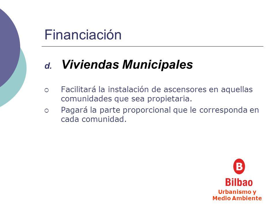 Financiación d. Viviendas Municipales Facilitará la instalación de ascensores en aquellas comunidades que sea propietaria. Pagará la parte proporciona