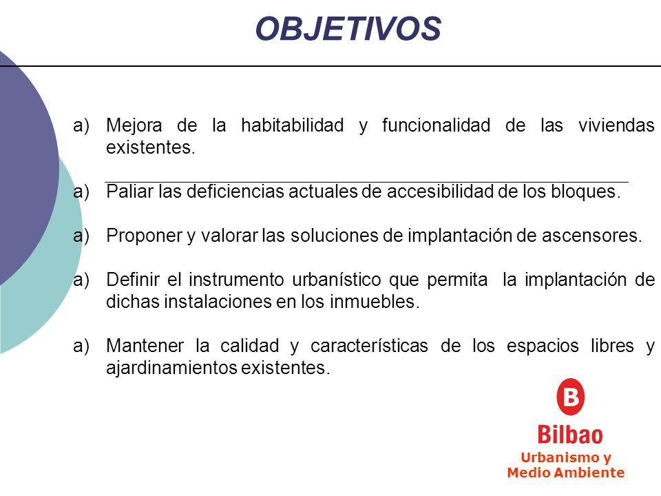 OBJETIVOS a)Mejora de la habitabilidad y funcionalidad de las viviendas existentes. a)Paliar las deficiencias actuales de accesibilidad de los bloques
