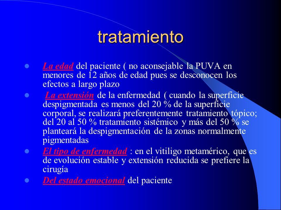 tratamiento La edad del paciente ( no aconsejable la PUVA en menores de 12 años de edad pues se desconocen los efectos a largo plazo La extensión de l