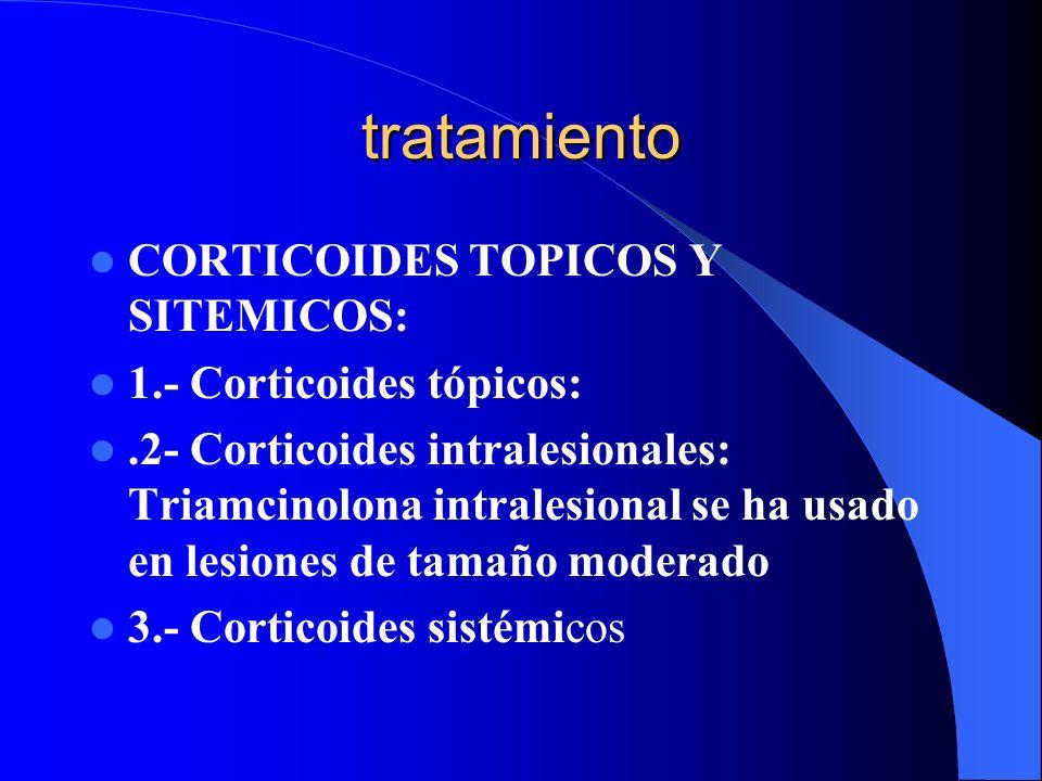 tratamiento CORTICOIDES TOPICOS Y SITEMICOS: 1.- Corticoides tópicos:.2- Corticoides intralesionales: Triamcinolona intralesional se ha usado en lesio