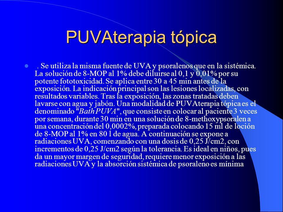 PUVAterapia tópica. Se utiliza la misma fuente de UVA y psoralenos que en la sistémica. La solución de 8-MOP al 1% debe diluirse al 0,1 y 0,01% por su