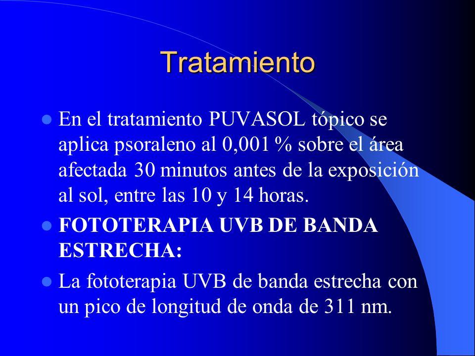 Tratamiento En el tratamiento PUVASOL tópico se aplica psoraleno al 0,001 % sobre el área afectada 30 minutos antes de la exposición al sol, entre las