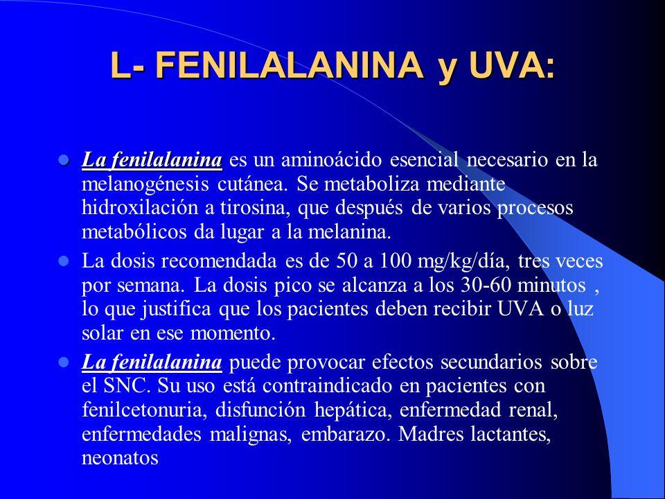 L- FENILALANINA y UVA: La fenilalanina La fenilalanina es un aminoácido esencial necesario en la melanogénesis cutánea. Se metaboliza mediante hidroxi