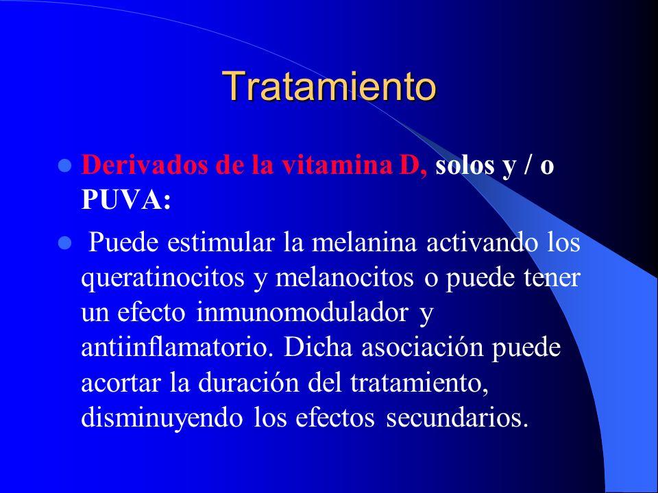 Tratamiento Derivados de la vitamina D, solos y / o PUVA: Puede estimular la melanina activando los queratinocitos y melanocitos o puede tener un efec