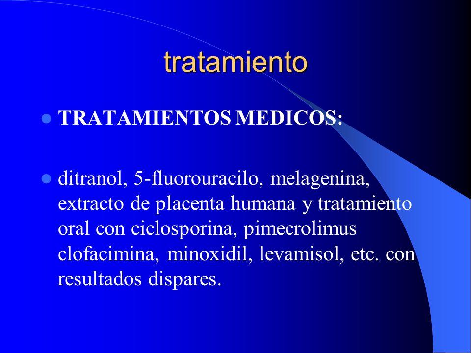tratamiento TRATAMIENTOS MEDICOS: ditranol, 5-fluorouracilo, melagenina, extracto de placenta humana y tratamiento oral con ciclosporina, pimecrolimus