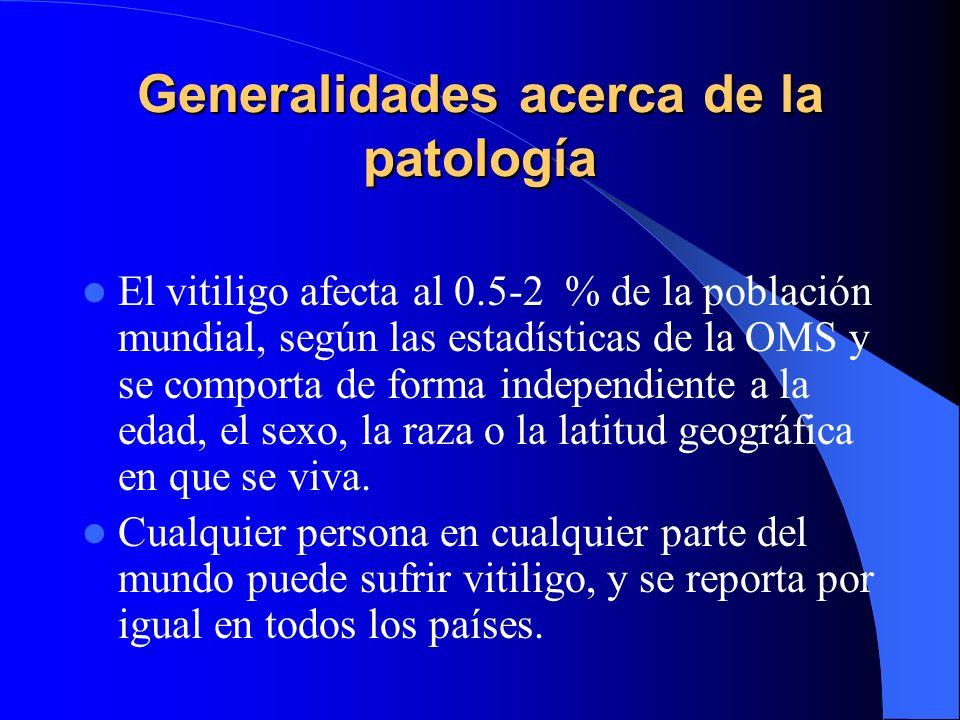 Generalidades acerca de la patología El vitiligo afecta al 0.5-2 % de la población mundial, según las estadísticas de la OMS y se comporta de forma in