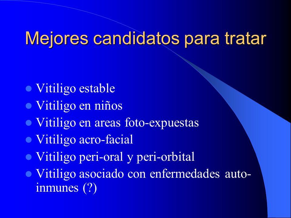Mejores candidatos para tratar Vitiligo estable Vitiligo en niños Vitiligo en areas foto-expuestas Vitiligo acro-facial Vitiligo peri-oral y peri-orbi