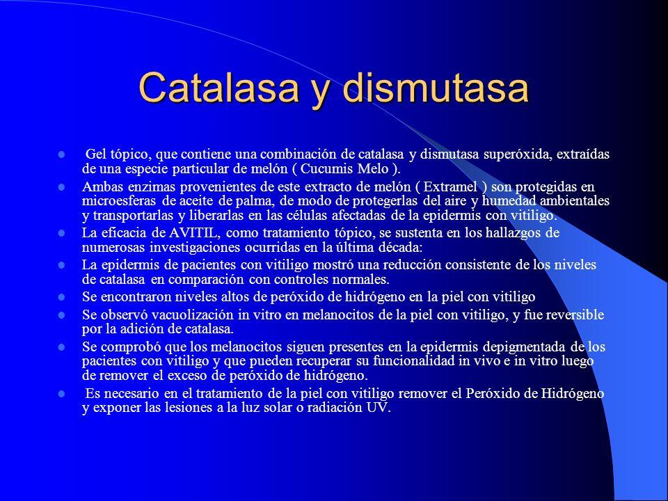 Catalasa y dismutasa Gel tópico, que contiene una combinación de catalasa y dismutasa superóxida, extraídas de una especie particular de melón ( Cucum