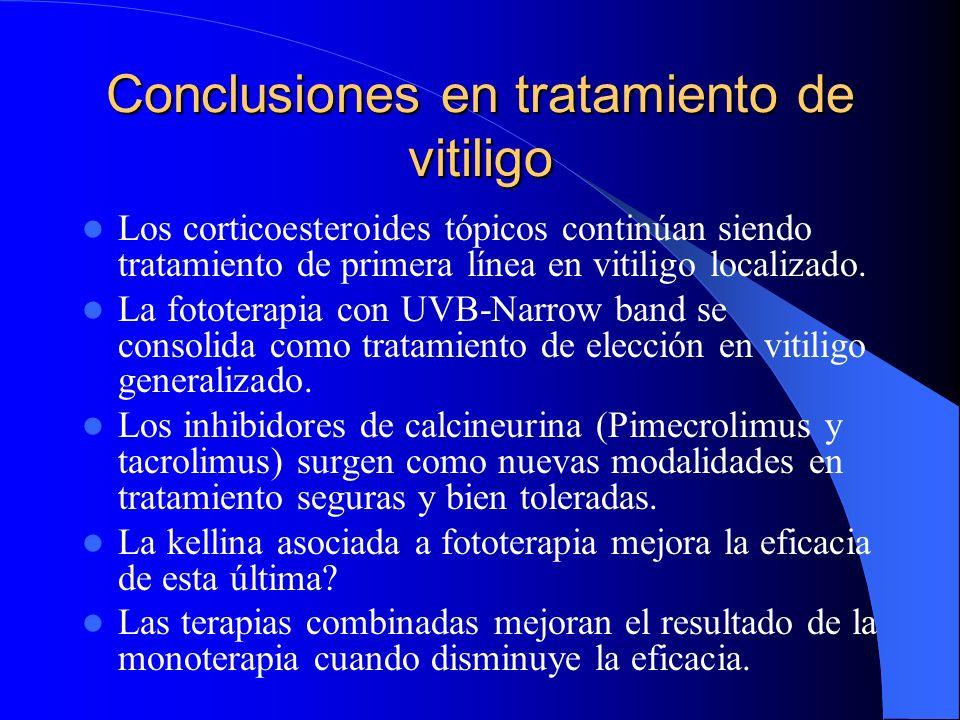 Conclusiones en tratamiento de vitiligo Los corticoesteroides tópicos continúan siendo tratamiento de primera línea en vitiligo localizado. La fototer