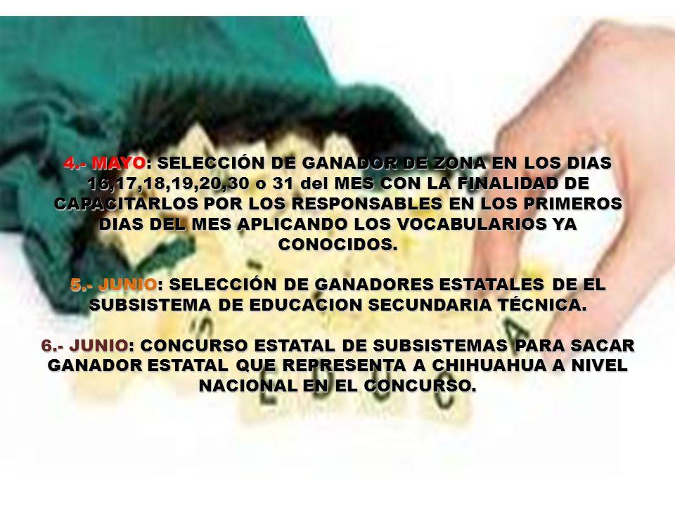 4.- MAYO: SELECCIÓN DE GANADOR DE ZONA EN LOS DIAS 16,17,18,19,20,30 o 31 del MES CON LA FINALIDAD DE CAPACITARLOS POR LOS RESPONSABLES EN LOS PRIMERO