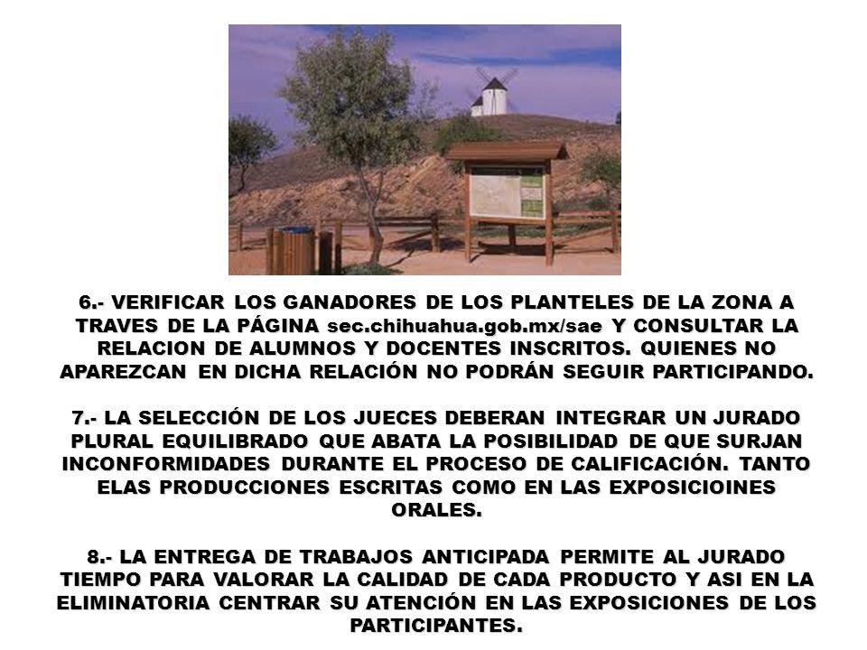 6.- VERIFICAR LOS GANADORES DE LOS PLANTELES DE LA ZONA A TRAVES DE LA PÁGINA sec.chihuahua.gob.mx/sae Y CONSULTAR LA RELACION DE ALUMNOS Y DOCENTES I