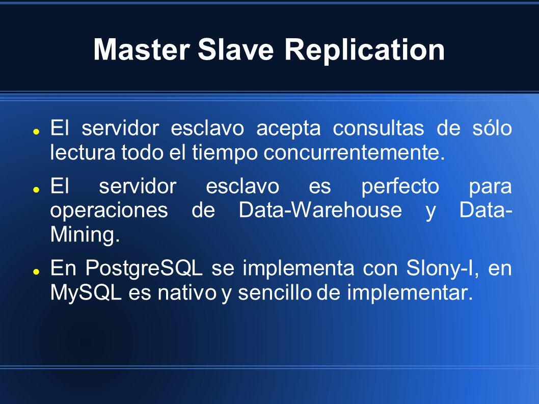 Master Slave Replication El servidor esclavo acepta consultas de sólo lectura todo el tiempo concurrentemente. El servidor esclavo es perfecto para op