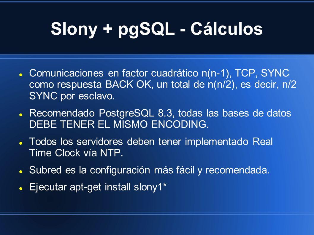 Slony + pgSQL - Cálculos Comunicaciones en factor cuadrático n(n-1), TCP, SYNC como respuesta BACK OK, un total de n(n/2), es decir, n/2 SYNC por esclavo.